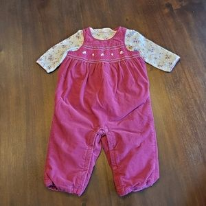Janie and Jack smocked overall set 6-12 months